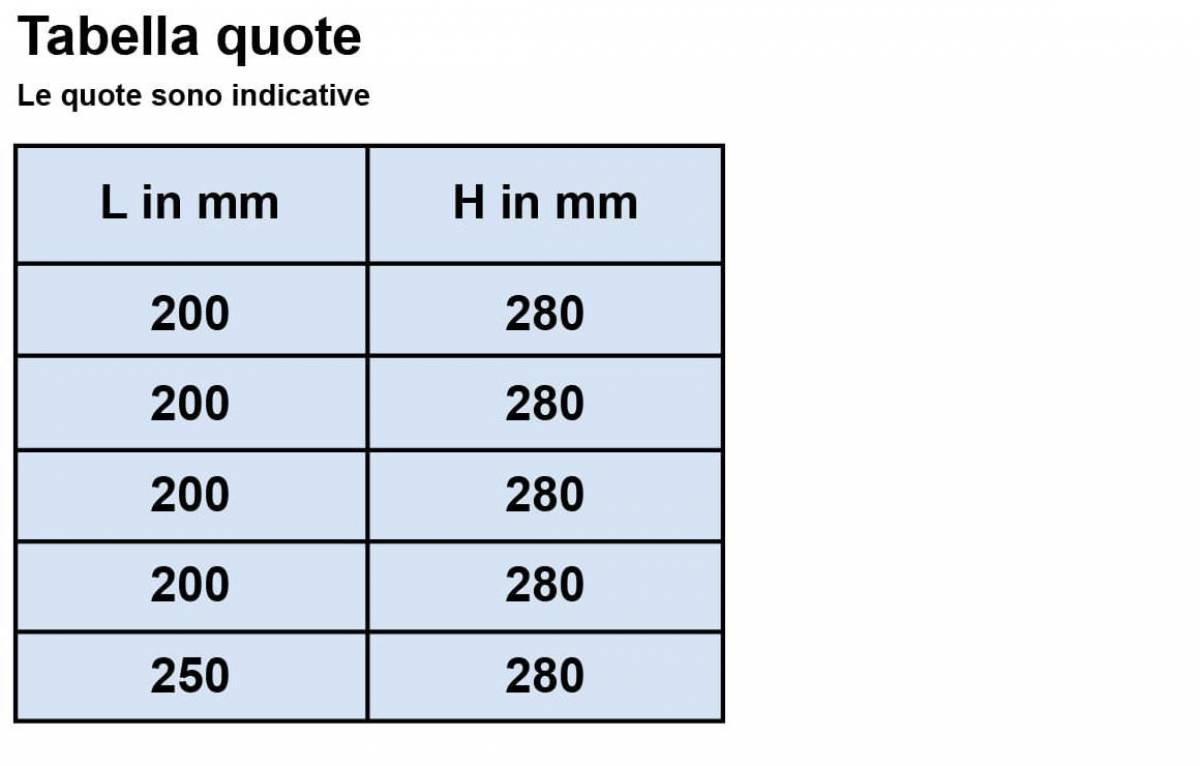 Electromagnetic flowmeter SA 20 MAG - Tabella quote