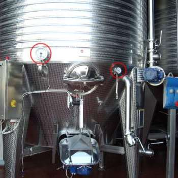 Flow meter on wine tank